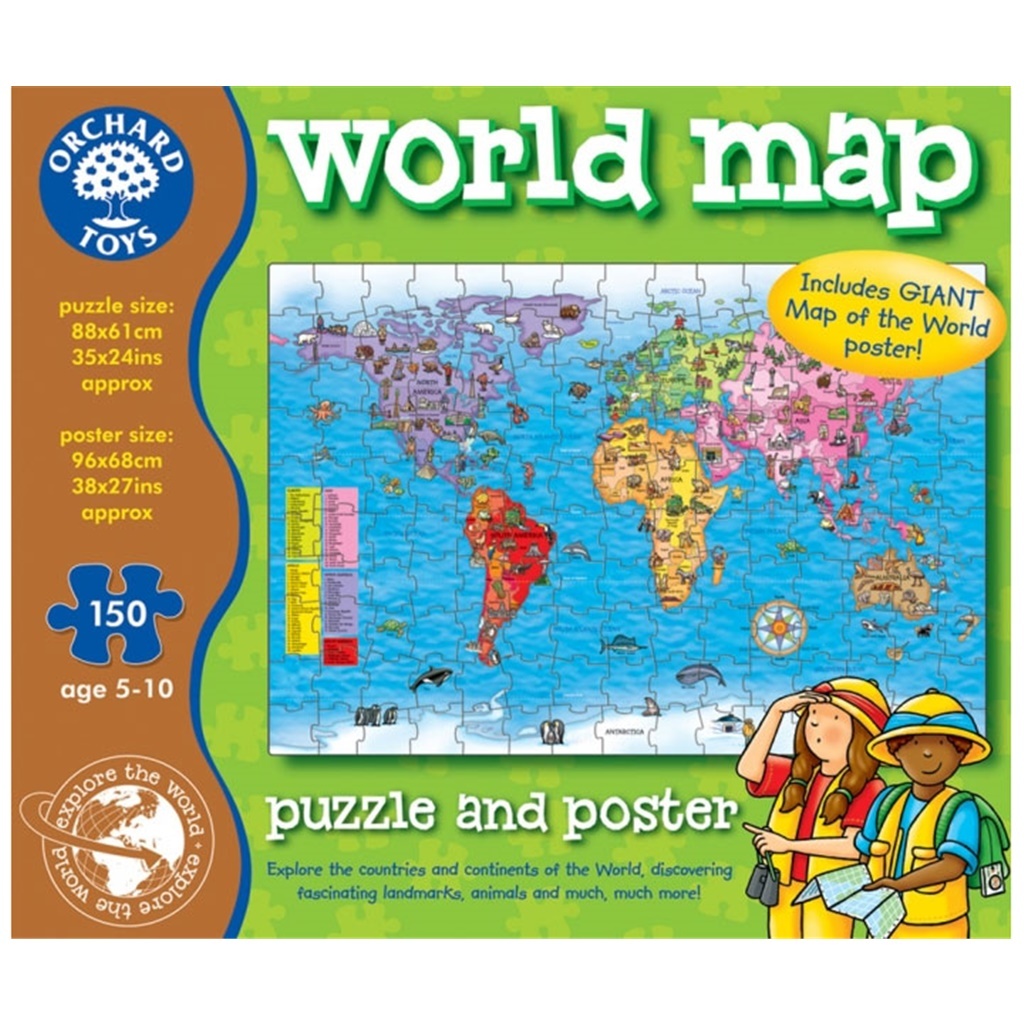 Pussel - Worl Map puzzel från Orchard Toys